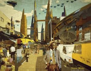 Vigilism, »Idumota Market, Lagos 2081A.D.« aus der » Our Africa 2081A.D.« Serie, Illustration für die Heritage Menswear Kollektion von Ikiré Jones, 2013, © Olalekan Jeyifous [vigilism.com] & Walé Oyéjidé [ikirejones.com]