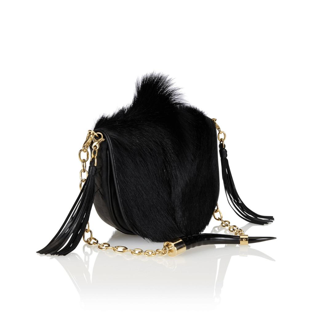 YEMAJA - Black Springbok Fur, Gold Hardware