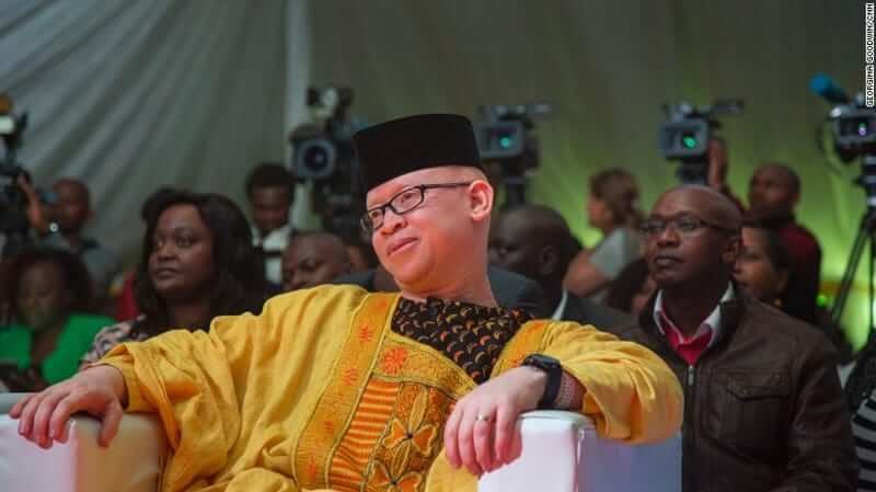 The beauty pageant was organised by Isaac Mwaura, Kenya's first albino parliamentarian and the founder of the Albinism Society in Kenya. Image credit: Georgina Goodwin/CNN.