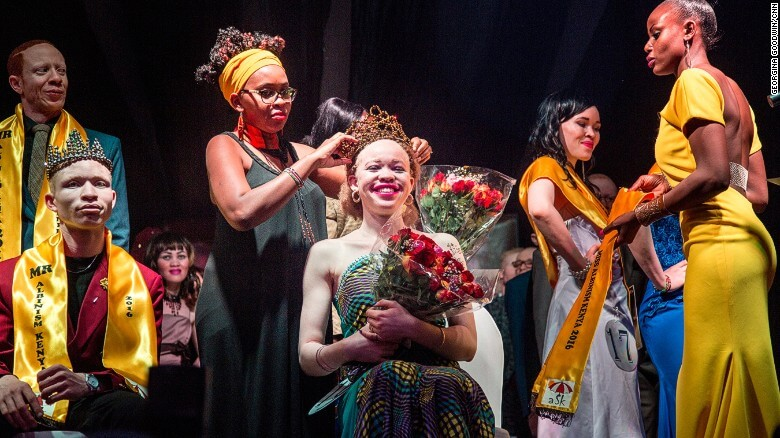 The pageant was organised by Isaac Maura, Kenya's first albino parliamentarian and the founder of the Albinism Society in Kenya. Image credit: Georgina Goodwin/CNN.